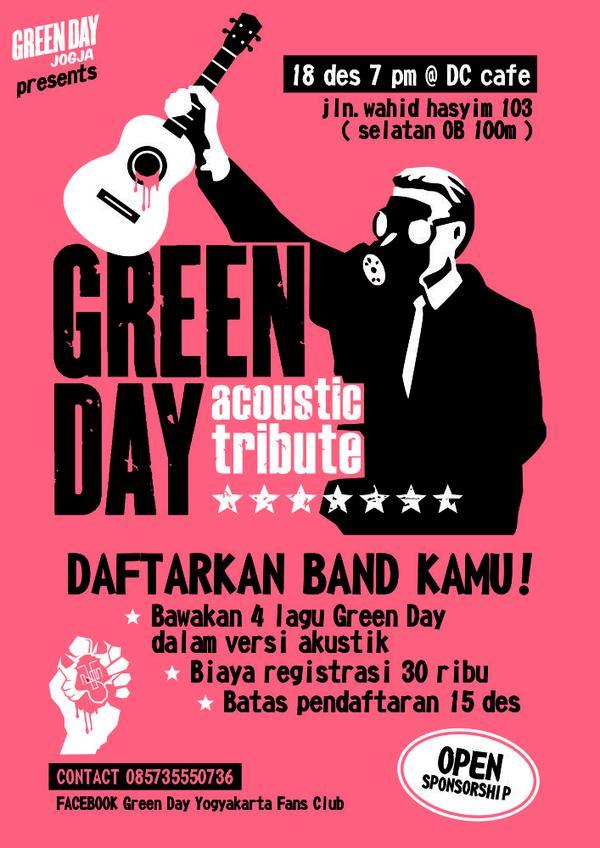@GreenDayIndo @IdiotClubIna @IdiotClub_Jatim @GreenDayJGJ BUKA REGIST BAND utk acara GreenDay Acoustic Tribute #Jogja http://t.co/R7SwXT7PVa