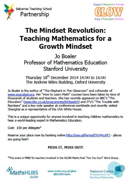 RT @GlOWmaths: @carolvorders please spread message of super chance to hear Jo Boaler talk on improving maths education at Oxford Uni http:/…