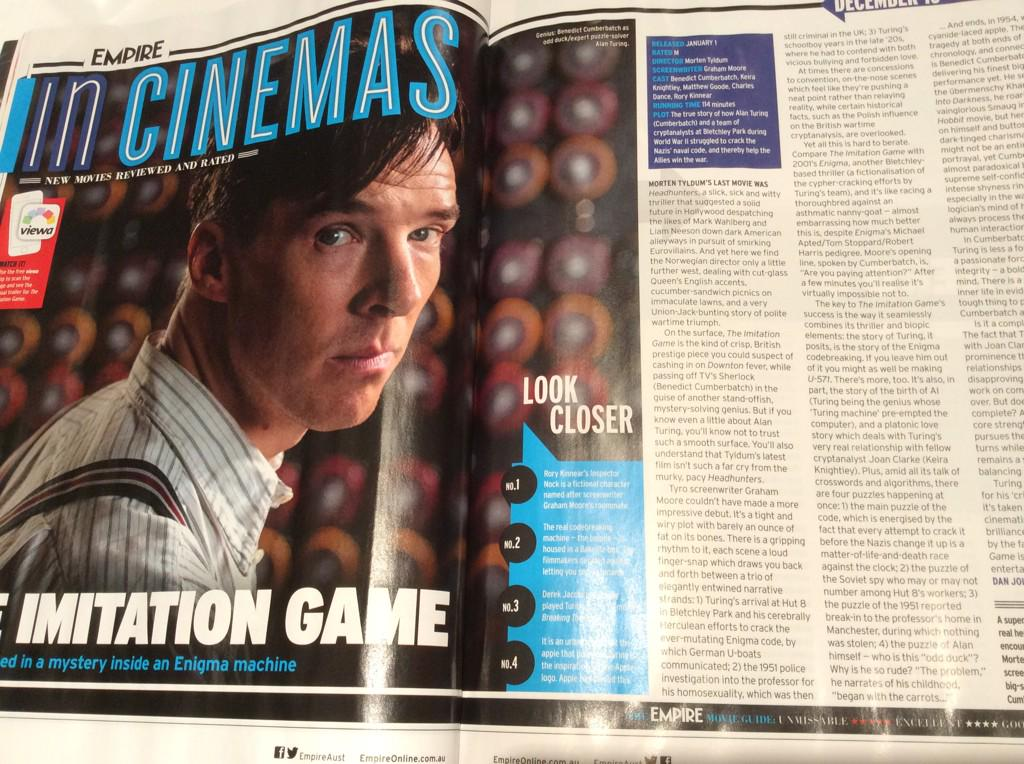 So happy to see @EmpireAust finally showing some love for @ImitationGame #BenedictCumberbatch http://t.co/qPewlGHujr
