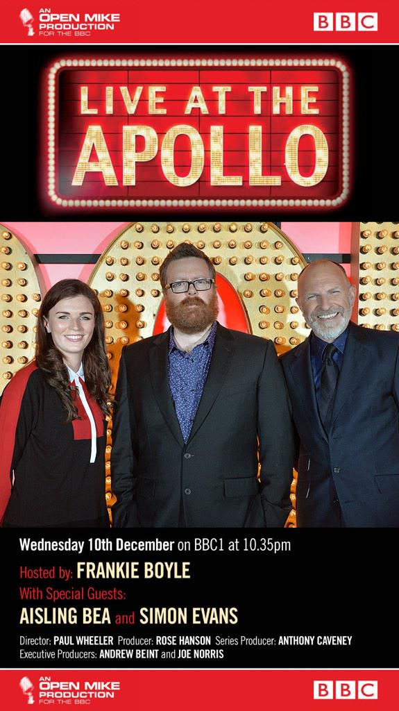 RT @OpenMike_TV: Tonight! #LiveAtTheApollo @BBCOne with @frankieboyle @WeeMissBea and @TheSimonEvans - not to be missed! http://t.co/TzgMtN…