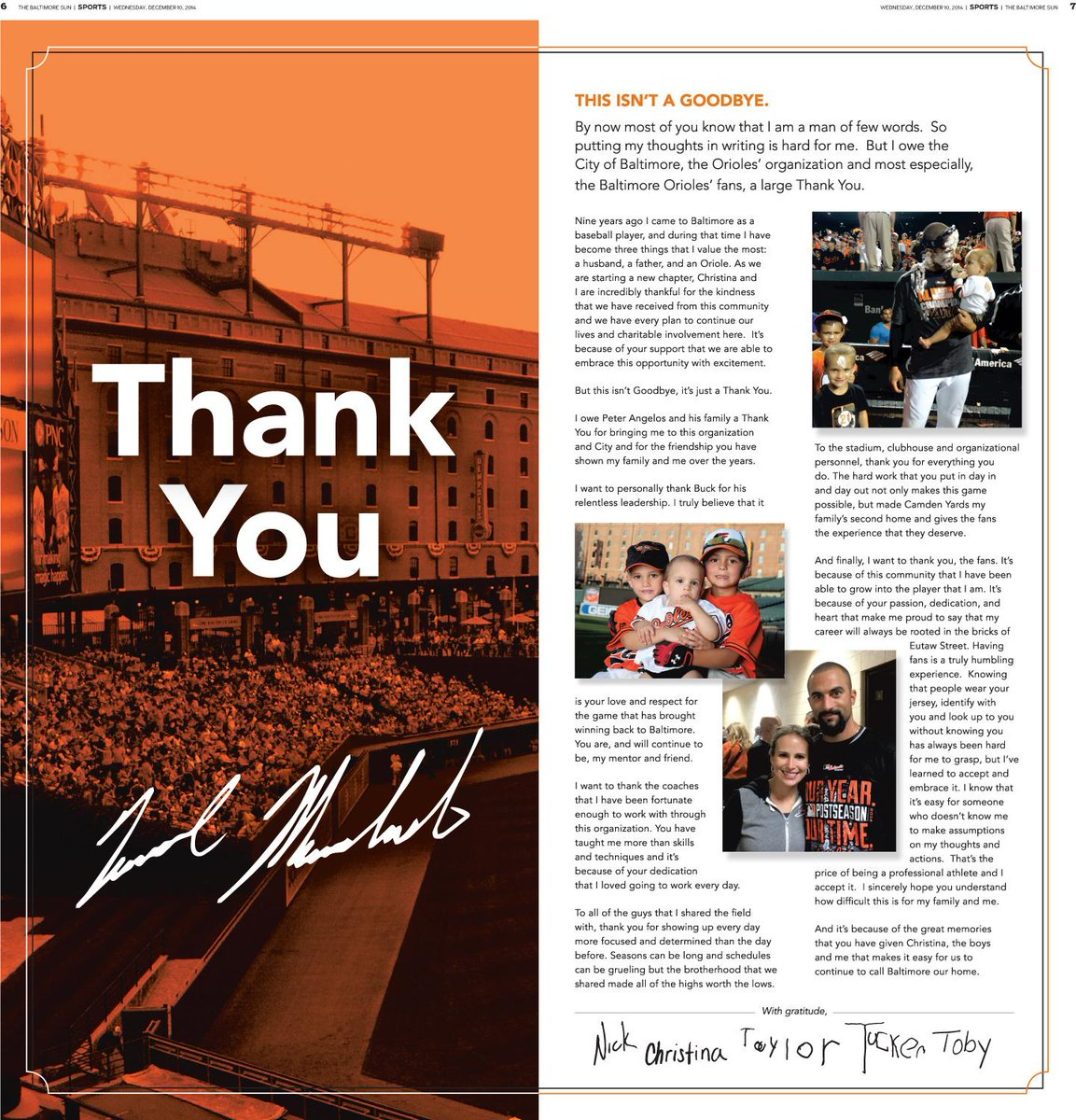 Nick Markakis took out a 2-page ad in today's Sun thanking #Orioles fans. http://t.co/5y94azryAS http://t.co/kAnnlVsfoj