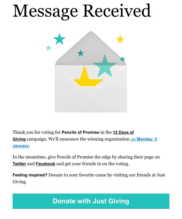 Help @PencilsOfPromis win $10K from @GA by voting in the #12DaysOfGiving campaign! http://t.co/kWgyhhoBEF I voted!! http://t.co/in6clZiHuZ