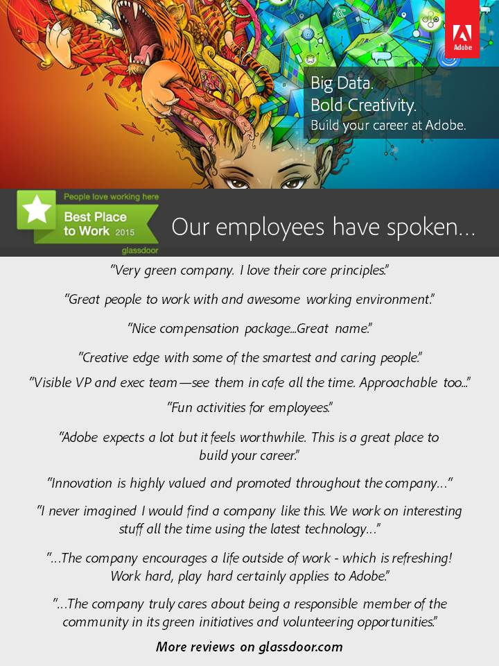 Glassdoor names @Adobe Best Places to Work in 2015! Top 10 for Tech Co.: http://t.co/Aqf3F8tqe8 #BPTW15 #AdobeLife http://t.co/36qIyIvJrE
