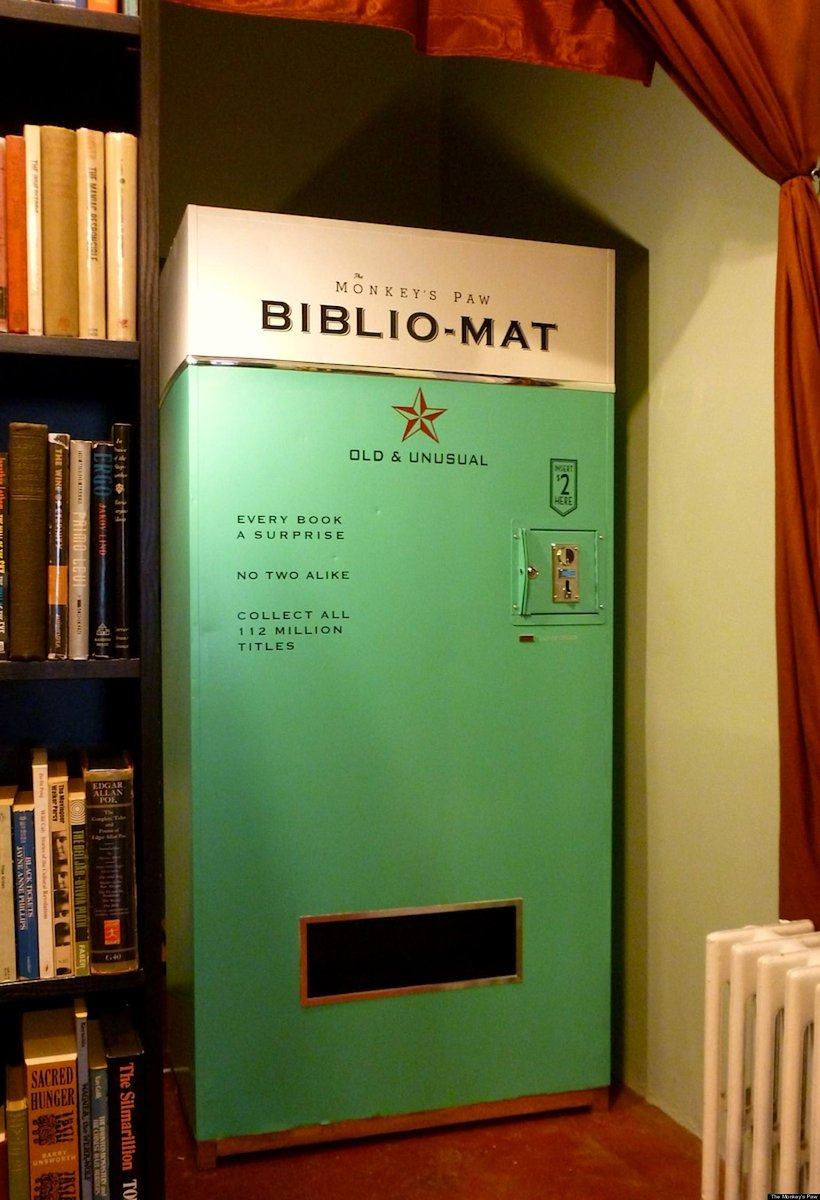 This vending machine dispenses a random book for $2.00. http://t.co/4kQXALRA4v