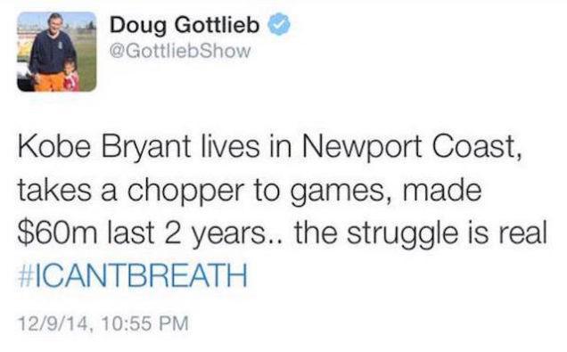 Doug Gottlieb of CBS deletes Kobe #icantbreathe tweet