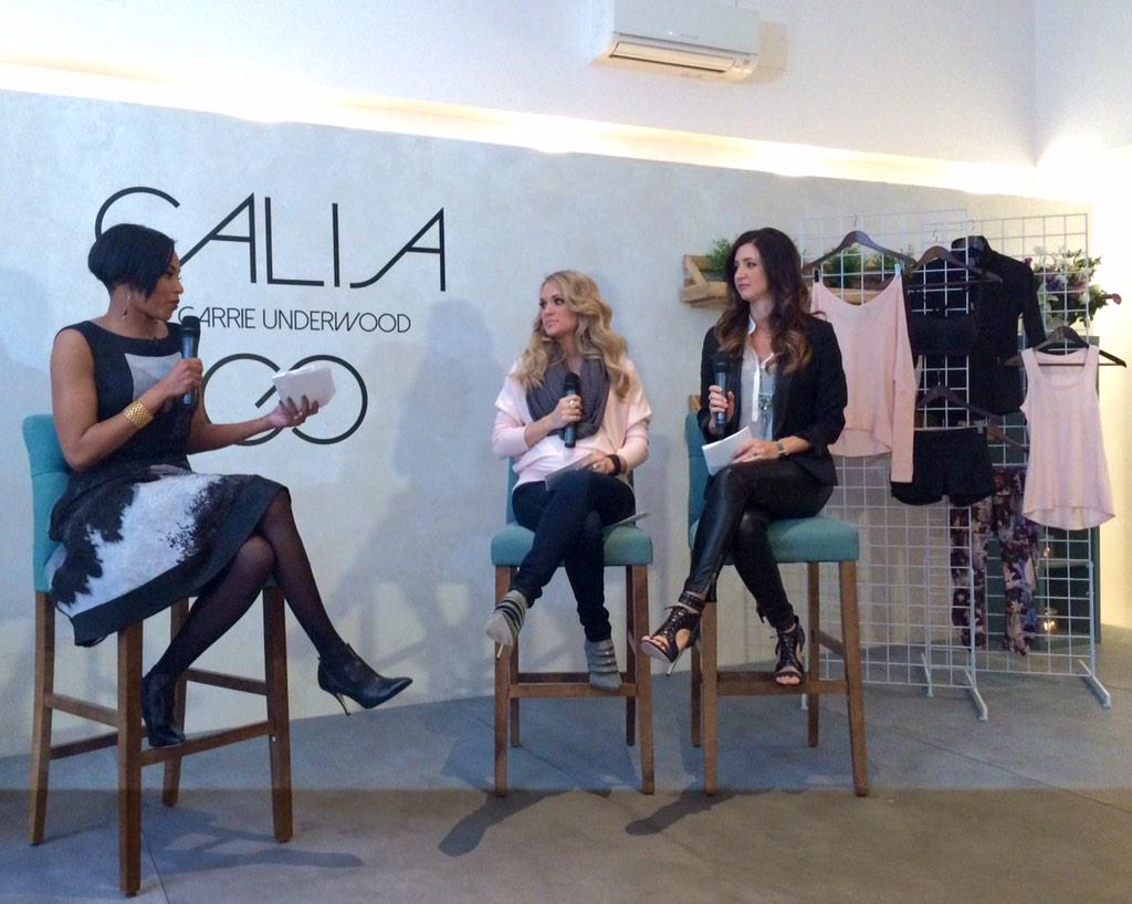 @carrieunderwood discussing her new activewear collection @CALIAbyCarrie #StayThePath #TFDintern http://t.co/04piQUoR7P