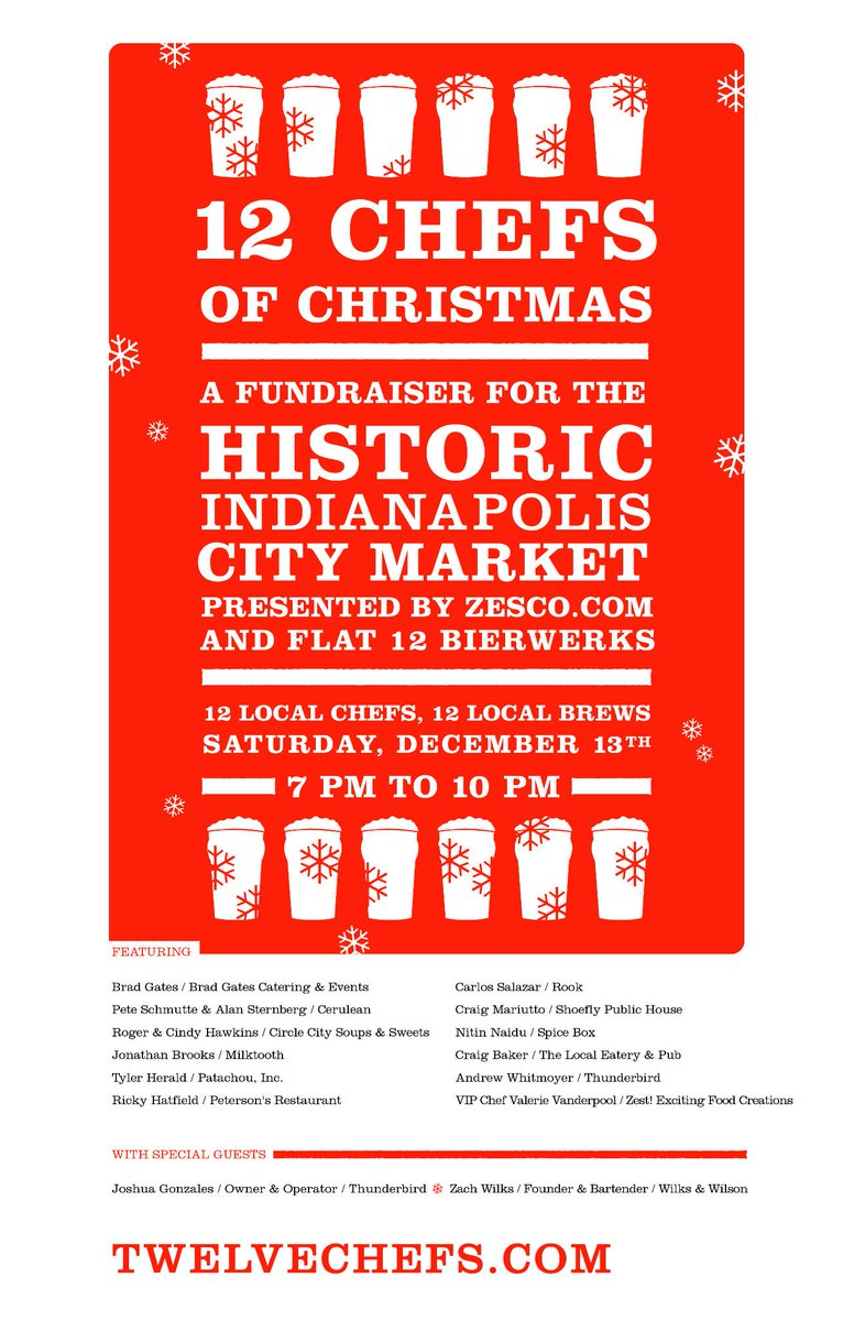 #12CHEFS TICKET SALES END TONIGHT! Get yours or miss out on the 12 Chefs & 12 Beers of Christmas @Flat12Bierwerks! http://t.co/uiKPprgaAV