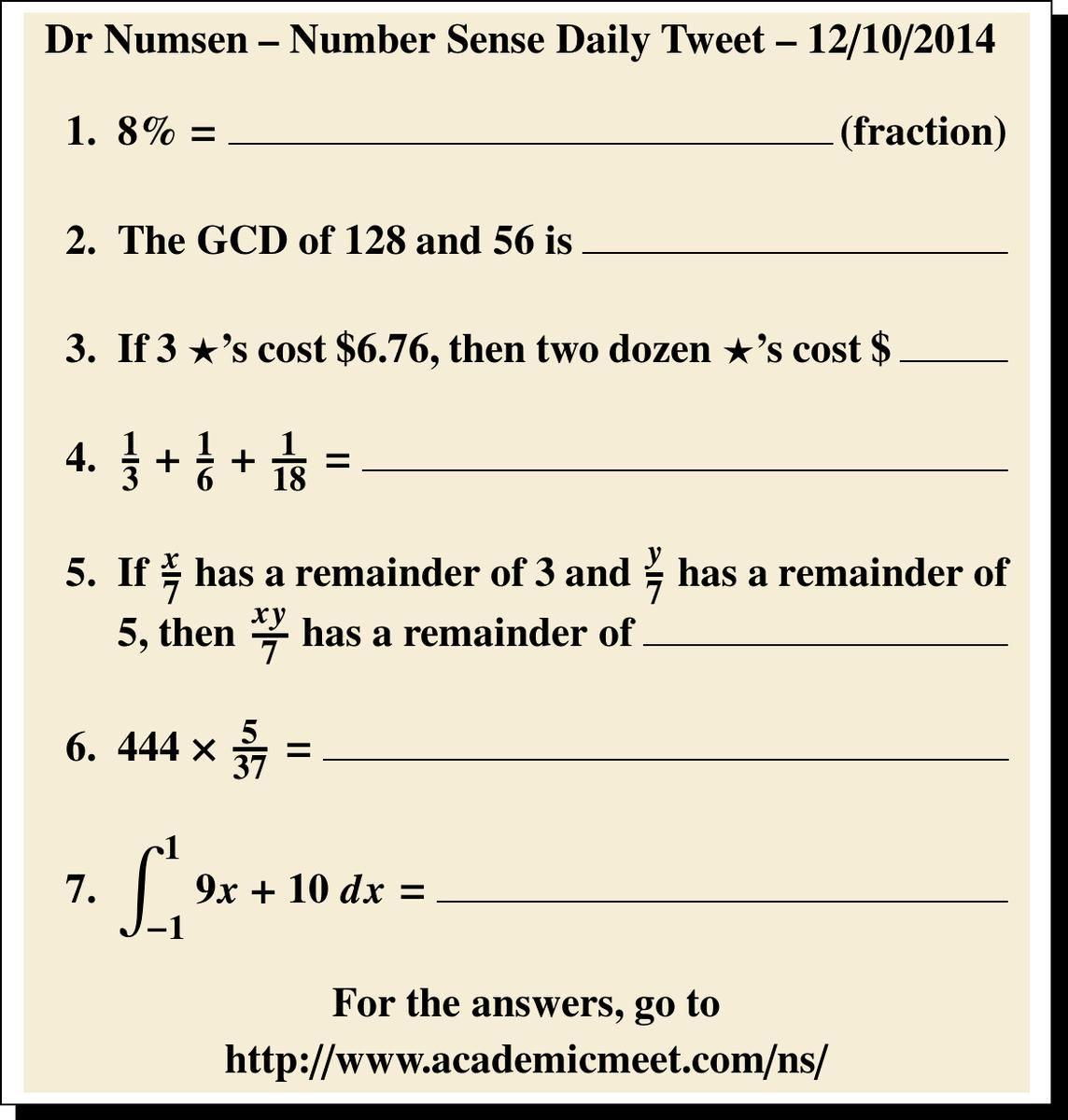 Dr Numsen Ns On Twitter Practice Mini Number Sense Test