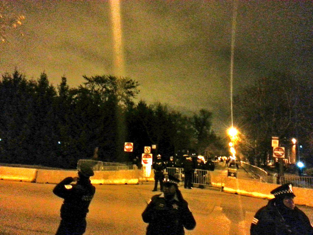 Rally in front of President Obama home as close as we can get #Chicago #ICantBreathe #BlackLivesMatter @ChicagoRising http://t.co/KUqQ4g27F1