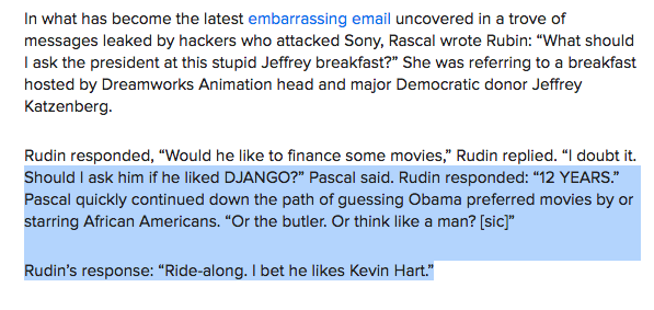 Just some casual racism in the Sony emails? Pascal & Rudin ponder Obama's favorite movies. http://t.co/Jw0jLCFbMq http://t.co/tfNmZAND3y