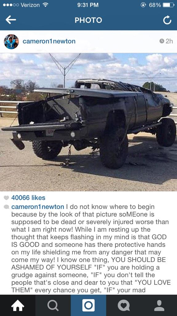 A very long and thought-provoking message from Cam Newton a day after his car wreck http://t.co/2LPPDqKmBc
