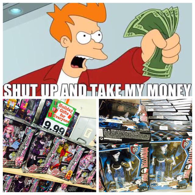 Me earlier when I saw a bunch of Invisibilly, on sale for $9.99, after months of seeking. @MonsterHigh http://t.co/zGLodoFnG4