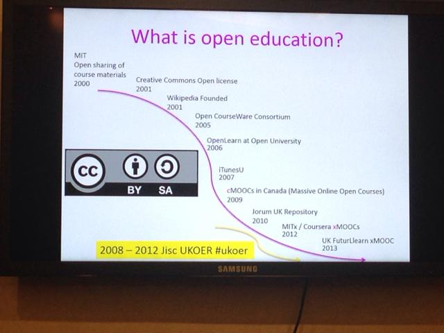 #srhe2014 Great start by @VivienRolfe - What is open education? Key initiative in UK was #ukoer programme. http://t.co/FsaYVOjmZc