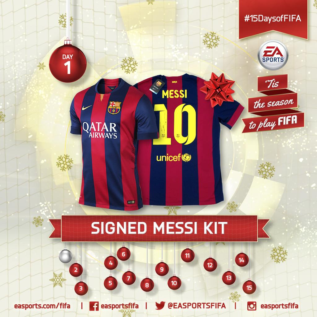 Day 1: signed #Messi jersey! Follow @EASPORTSFIFA and RETWEET for a chance to win our first prize. #15DaysofFIFA. http://t.co/WhNBn3dtOo