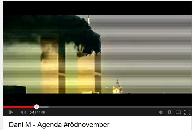Samtidigt som Dani M rappar versen ovan visas bilder från 9/11. Ett vanligt mönster i antijudisk propaganda. http://t.co/aVLlC5iTsk