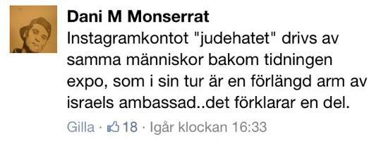Angående att instagramkontot @Judehatet uppmärksammat hans uttalande skrev Dani M detta i en diskussion på Vaken.se: http://t.co/xaHyp6OgRh