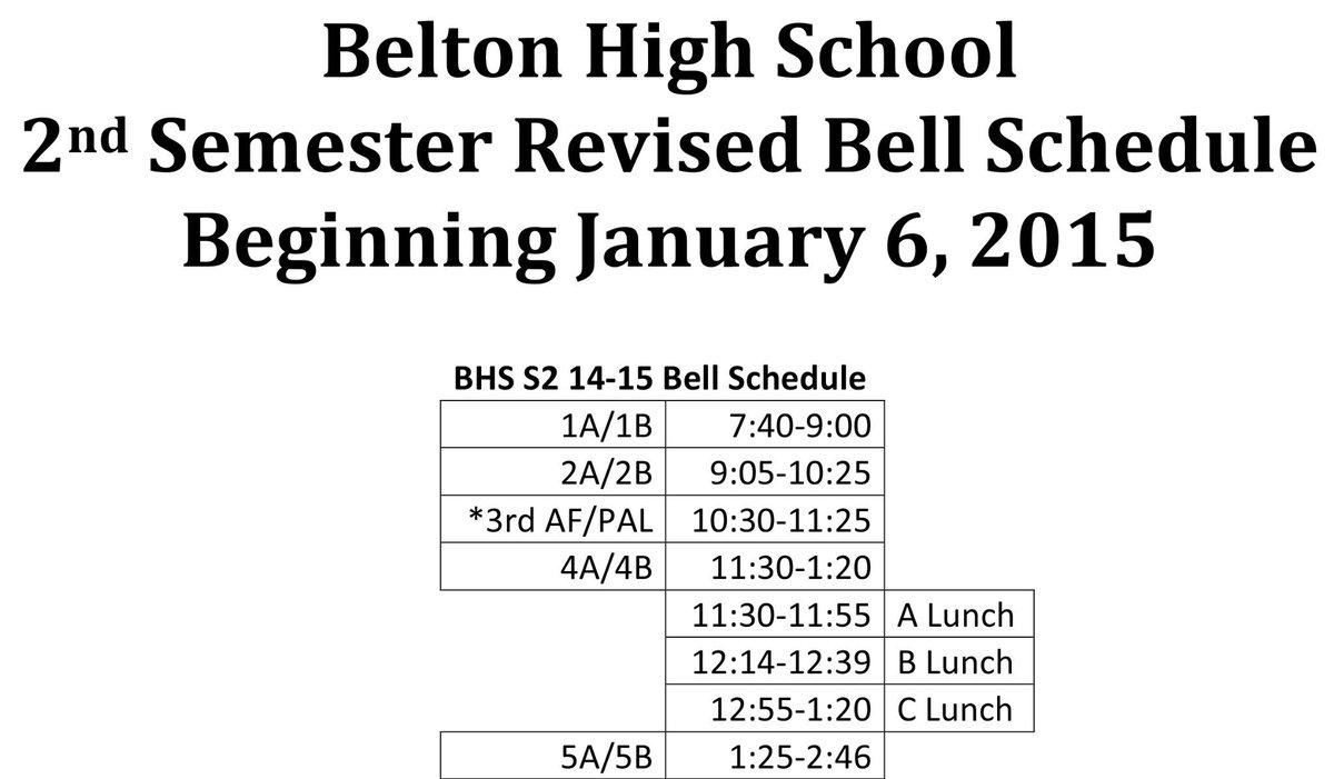 "belton schools on twitter: ""the bell schedule at belton high school"