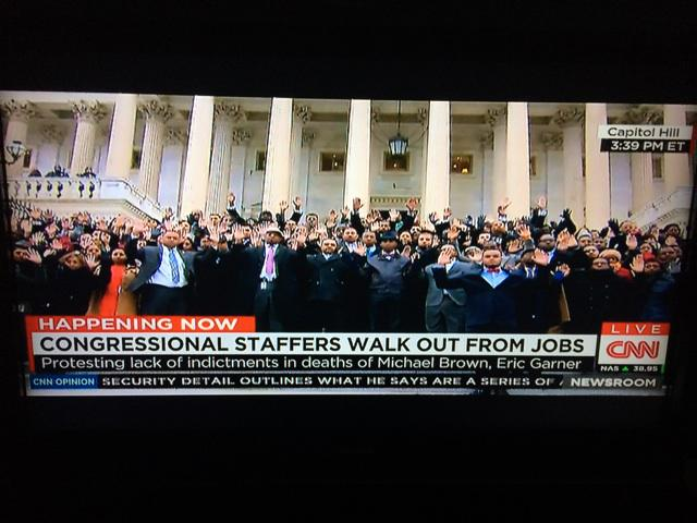 """Wow ..what a moment on the steps of the U.S. Capitol """"hands up"""" . Staffers walked out from Jobs http://t.co/tPR6YapFck"""