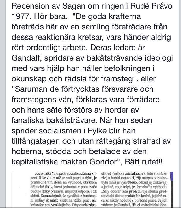RT @hynekpallas: Fortfarande roligast idag - recension av Sagan om ringen i Rud? Pravo, Tjeckosovakien 1977 (?vers?ttning Carl Ruster) http?