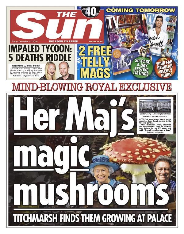 Magic Mushrooms Found in Queen Elizabeth's Garden at Buckingham Palace