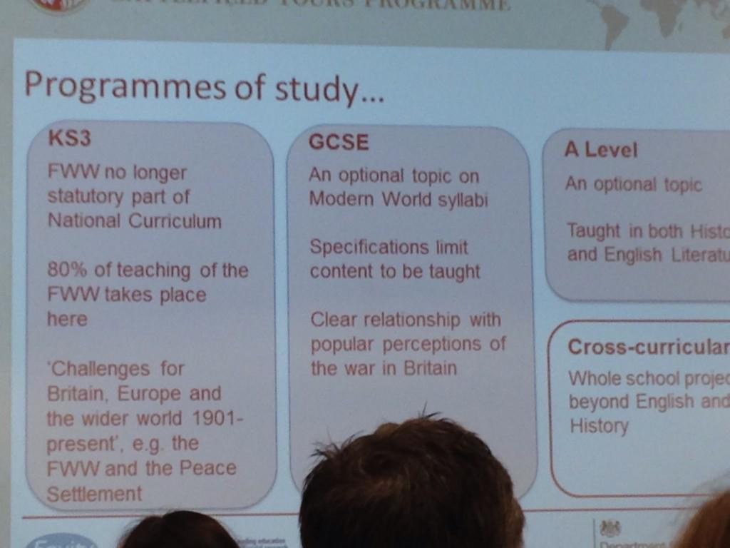 Simon Bendry #DLFWW shares where First World War features in curric. http://t.co/m9cl5oHgel