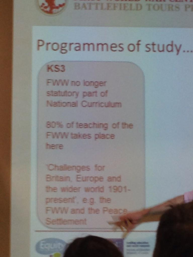 Simon Bendry @WW1_Education @DLNET says 80% FWW taught at KS3 #DLFWW http://t.co/9pVkUo8wfd