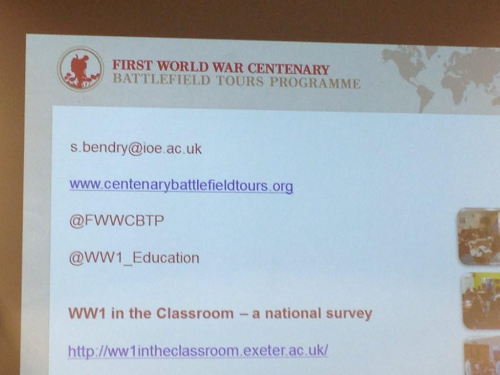 Finally Simon @WW1_Education #DLFWW says check out WWI in the classroom national survey http://t.co/RGe9bFMTem