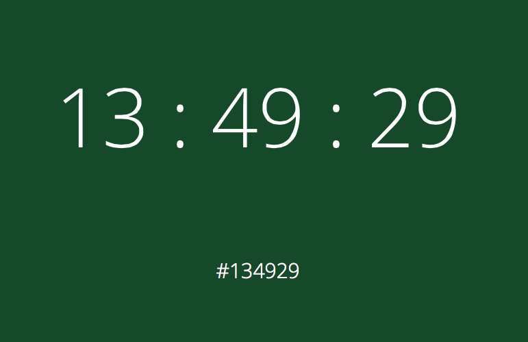 """""""@alexmuench: Love this: Computing the hex color of the current time. http://t.co/sU4pGuQRlv http://t.co/5E7x1MNZlP""""  very clever!"""