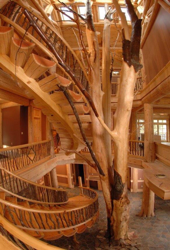 Billionaires On Twitter Three Story Log Cabin Interior