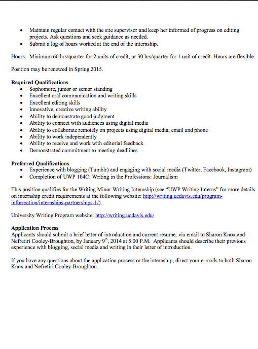 Cover Letter UC Davis   Experience Resumes patriotexpress us Internship Cover Letter Sample Software Engineering