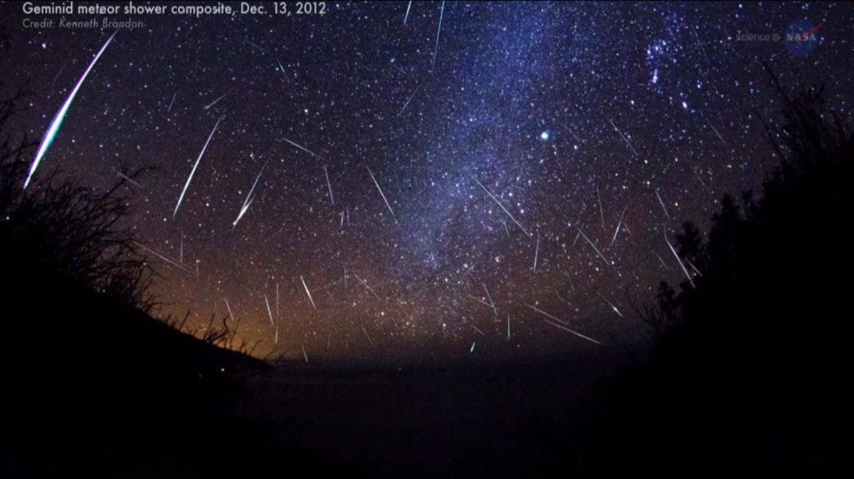 "Earth passing through debris from ""rock comet."" #geminid ..."