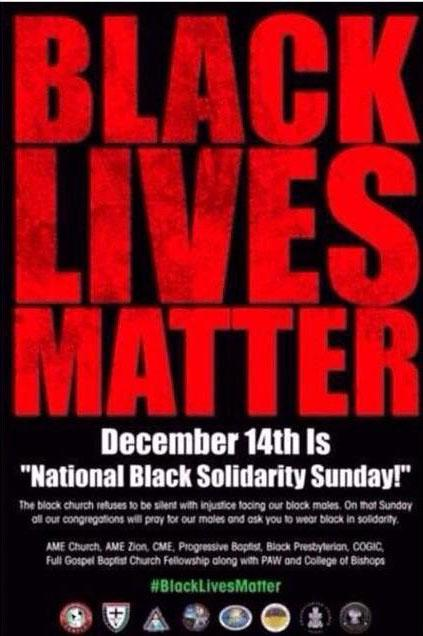 We're asking everyone to wear all black this Sunday in support of #BlackLivesMatter http://t.co/Szi9Pd3whw