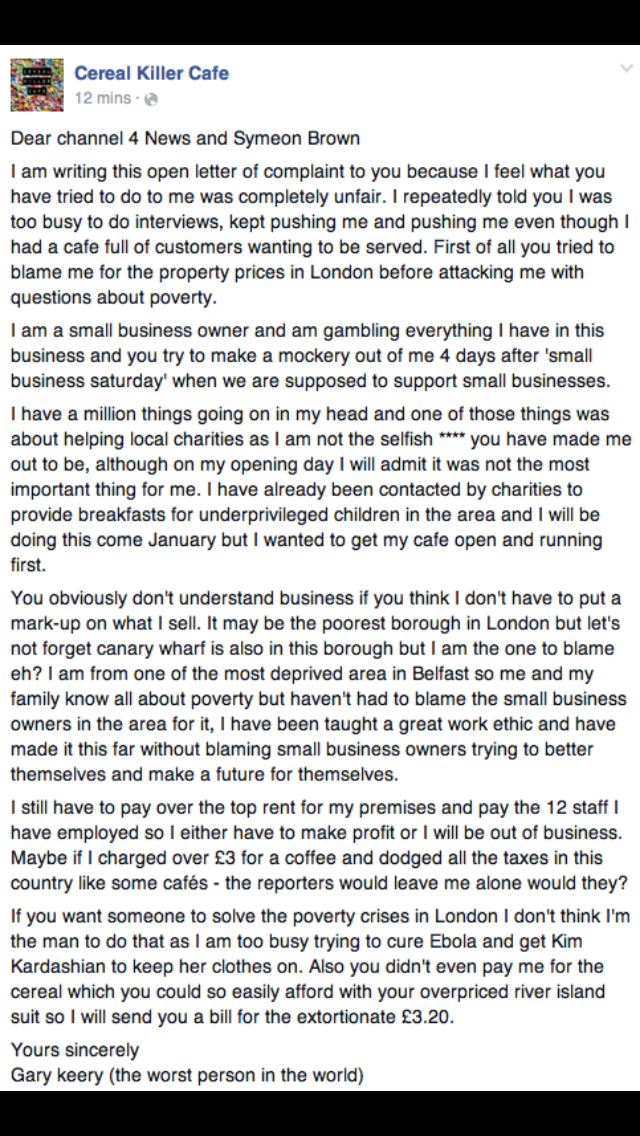 Don't plan to go anywhere near the cereal cafe but the fury towards it is absurd. Here's their response to c4: http://t.co/XtGY12wTZA