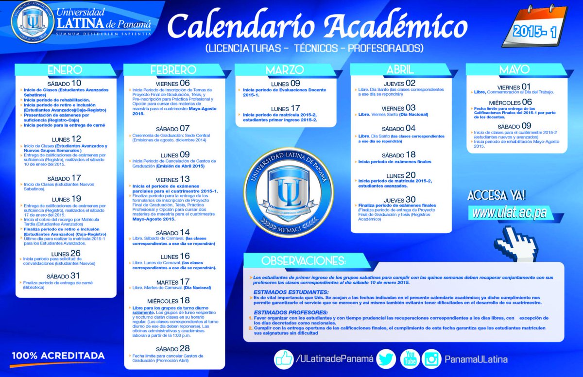 Calendario Escolar 2018 Panama.Universidad Latina On Twitter Calendario Academico Primer