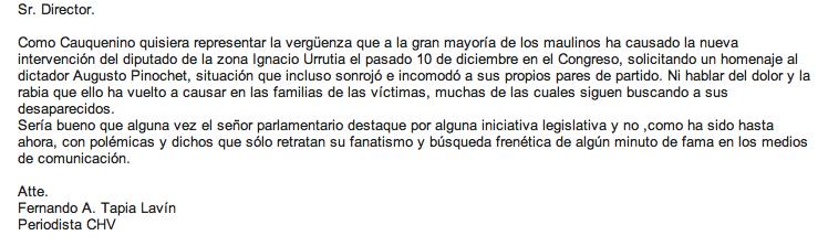 Comparto con uds carta enviada a El Mercurio, La Tercera y El Centro de Talca. En ninguno fue publicada http://t.co/Odr9YYQ3Lz