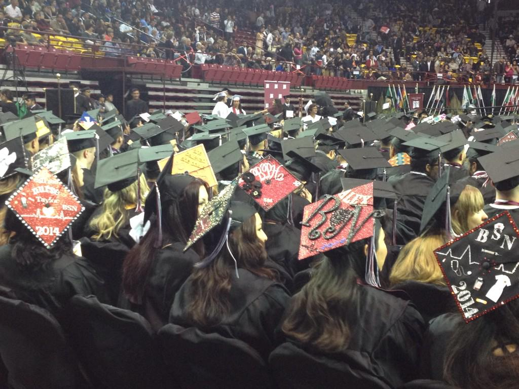 The College of Health and Social Services has some of the best cap decorations. #nmsugrad @NMSUAlumni http://t.co/GYACfmDUOQ