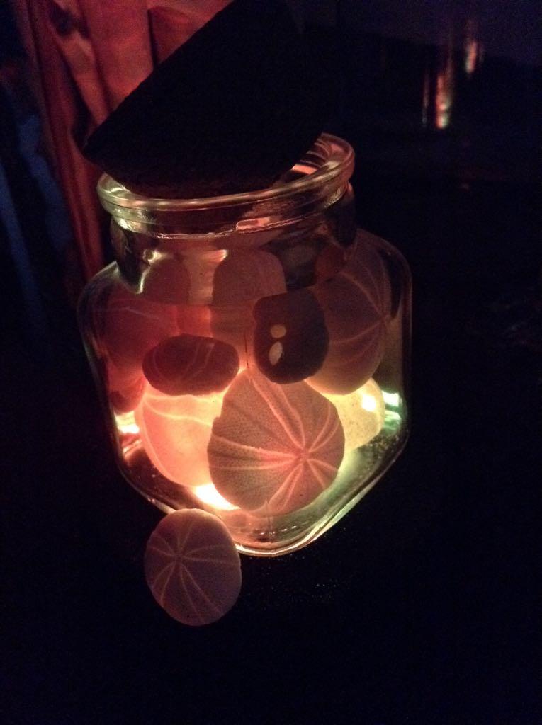 瓶入りタマゴウニも光る。殻の薄いウニだから透けて美しいな。