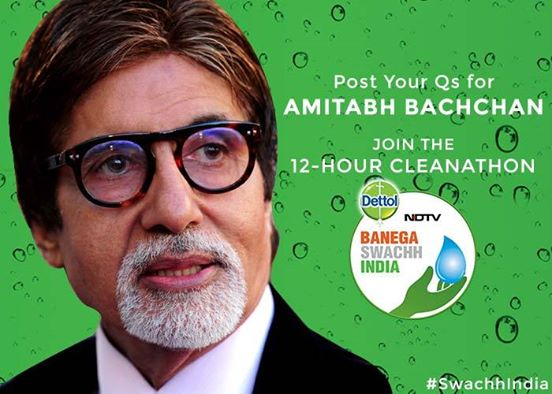 T 1705 - The 12-Hour Cleanathon on @ndtv . Send me your Questions #SwachhIndia #Cleanathon http://t.co/v6mKl9oaaZ