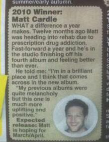 From today's Daily Star - @mattcardle is aiming to release album 4 in March/April :-D http://t.co/G3ubfKYfH6
