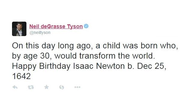 Neil deGrasse Tyson deseja feliz aniversário a Issac Newton no Natal e causa polêmica. http://t.co/FI6RSezKHA http://t.co/S91GnjAvTT