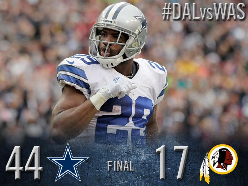 RT @dallascowboys: FINAL: Cowboys 44, Redskins 17 http://t.co/qpuiHtH993 #DALvsWAS http://t.co/U7U53T6S9z
