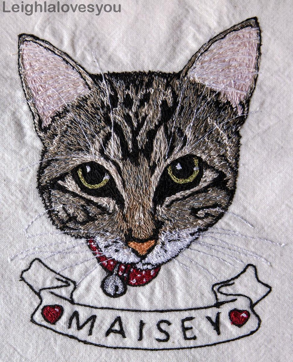 "Custom 5x7"" Pet Portrait - Free Hand Machine Embroidered! Available: http://t.co/iKElluCCLM  @HandmadeHour @HMNation http://t.co/RwhadwsXsf"