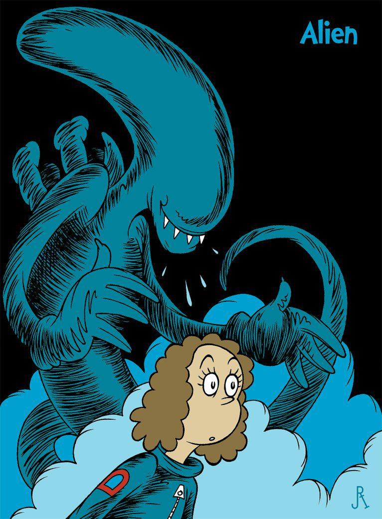 Dr. Seuss themed Alien movie artwork. By @DrFaustusAU via @johnmcswain http://t.co/fiGoPraFhb