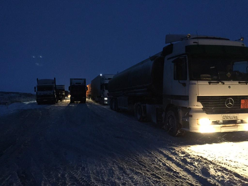 состояние трассы  М4 Дон в Ростовской области 27.12.2014 снег снегопад метель плохая видимость