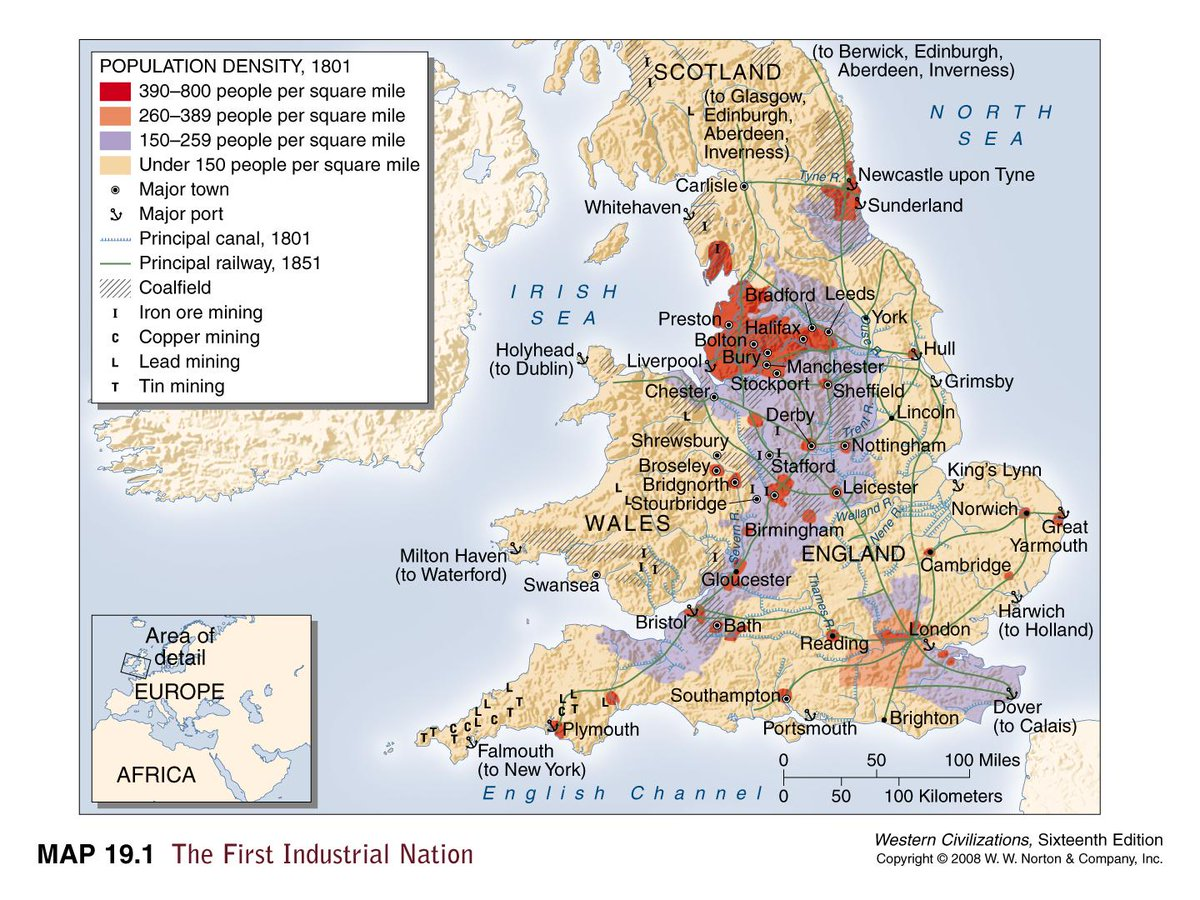 Map Of England Leicester.Brilliant Maps On Twitter Industrial Map Of The Uk In 1801 Http