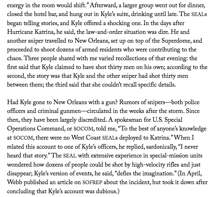 In one of many tall tales, Chris Kyle claimed he killed 30 looters during Hurricane Katrina http://t.co/tqWq27VOb7 http://t.co/hanwuDNN3U