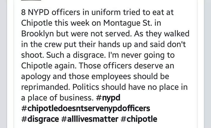 POLICE NEWS: RESTAURANT REFUSED OFFICERS AT NYPD FALLEN OFFICER FUNERAL TO USE RESTROOM:       @ChipotleTweets http://t.co/bM2FVlfMno