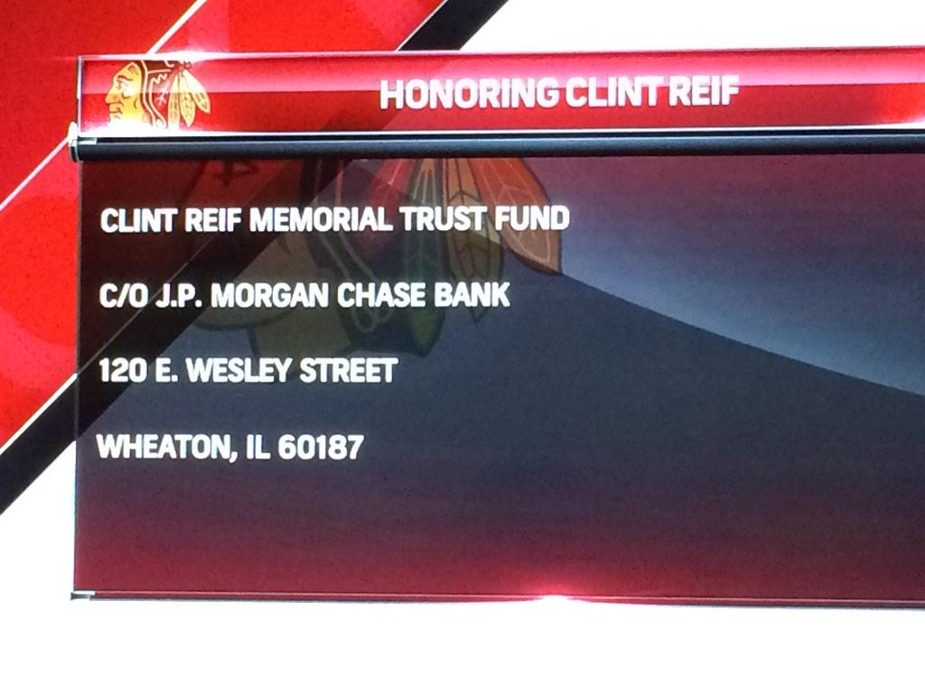 Info for fund for Clint Reif family. #blackhawks http://t.co/oirK9WIakz