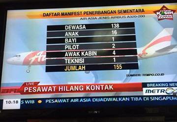 Pesawat AirAsia AWQ 8501 dari Bandara Juanda Surabaya ke Singapura membawa 155 penumpang terputus hubungan pagi ini http://t.co/oIlywa1LYI