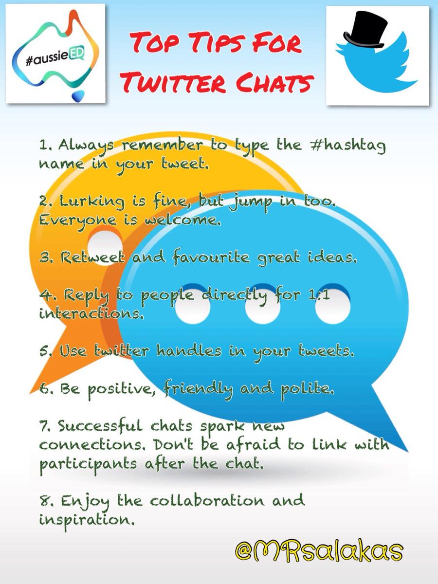 Tips for those new to twitter chats #aussieED #edchat #ukedchat #sunchat http://t.co/PxzpvBuaEE